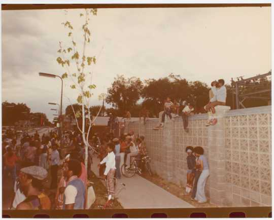 Crowd of people at a Way event. ca. 1980–1985. Photo by Charles Chamblis.
