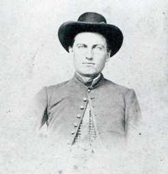 Black and white photograph of Ozias B, Baker, private, Second Company of Minnesota Sharpshooters, c.1862.