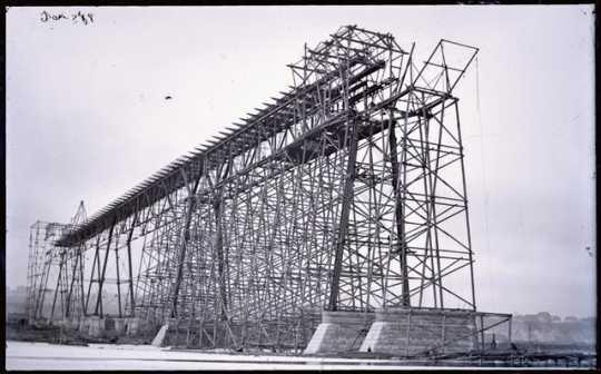 Black and white photoprint of high bridge construction c. January, 1889.