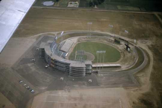 Color image of an aerial view of Metropolitan Stadium, Bloomington, MN, ca. 1958–1966. Photograph: Gordon A. Erickson.