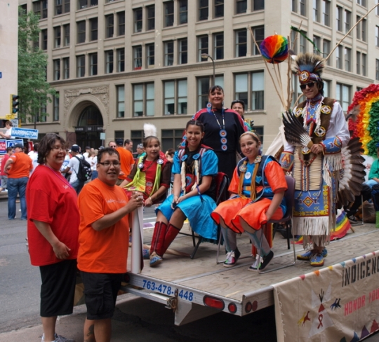 Indigenous float at Twin Cities Pride