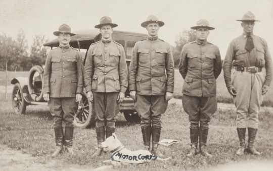 Black and white photograph of Reviewing officers at Motor Corps encampment, Fairmont, c.1918. (L to R) W.A. Curtis, Edward Karow, unidentified, unidentified, Motor Corps commander, Colonel W.A. Stephens.