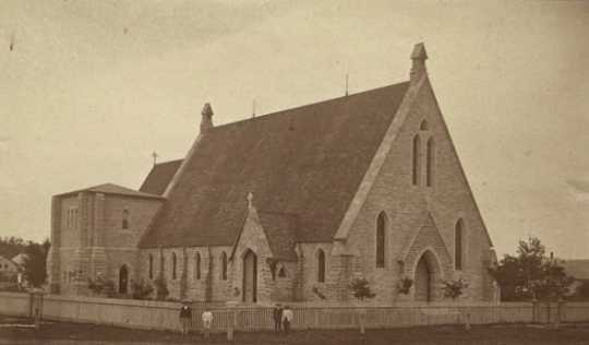 Black and white photograph of Cathedral Church of Our Merciful Savior, Faribault, c.1870.