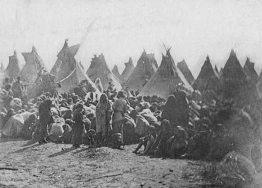 Black and white photograph of the confirmation of Dakota at Fort Snelling, 1863.