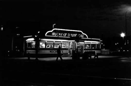 Photograph of Mickey's Diner take in 1980 by Henry B. Hall.