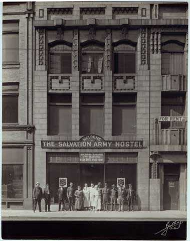 Black and white photograph of the Salvation Army Hostel, 317 Robert, St. Paul, ca. 1920.