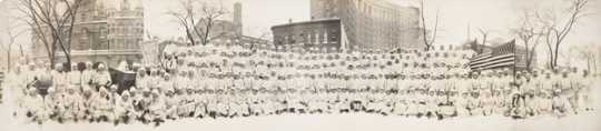 Black and white photograph of West Publishing Company employees, St. Paul Winter Carnival, 1916.