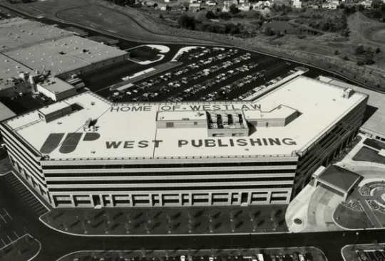 Black and white photograph of the new West Publishing Company campus and headquarters in Eagan, 1992.