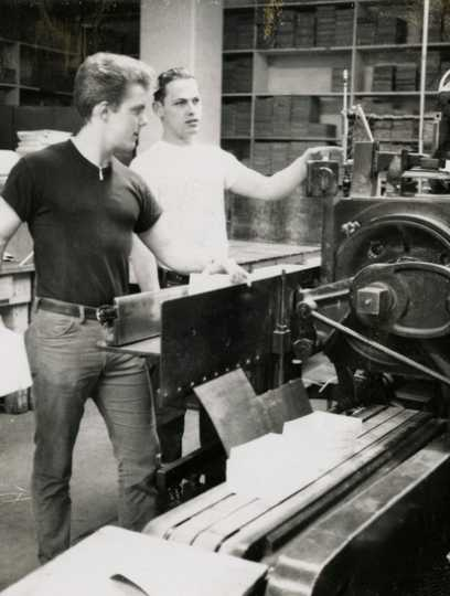 Black and white photograph of two West Publishing Company employees, c.1967.