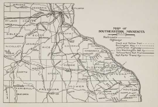 Map of southeastern Minnesota printed in The Paradise of Minnesota: The Proposed Whitewater State Park (L. A. Warming, 1917).