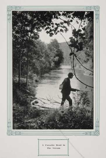 "A fisherman in Whitewater State Park, ca. 1917. Original caption: ""A Favorite Bend in the Stream."" From The Paradise of Minnesota: The Proposed Whitewater State Park (L. A. Warming, 1917)."