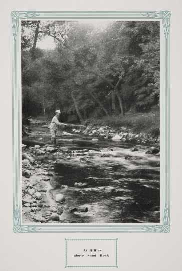 ": A stream in Whitewater State Park, ca. 1917. Original caption: ""Riffles above Sand Rock."" From The Paradise of Minnesota: The Proposed Whitewater State Park (L. A. Warming, 1917)."