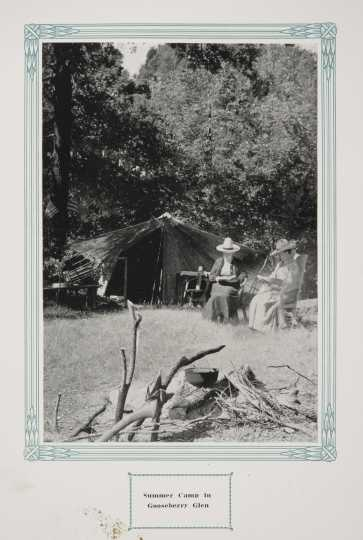 "Camp in Whitewater State Park, ca. 1917. Original caption: ""Summer Camp in Gooseberry Glen."" From The Paradise of Minnesota: The Proposed Whitewater State Park (L. A. Warming, 1917)."