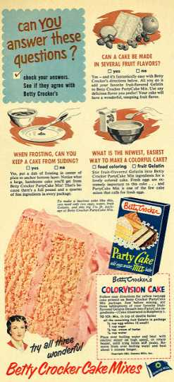 Advertisement for Colorvision cake