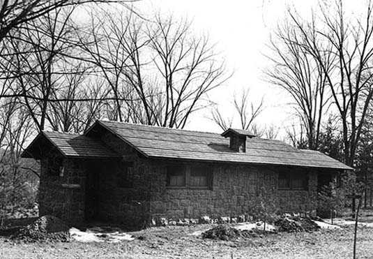 Black and white photograph of an Interstate State Park comfort station, 1950.