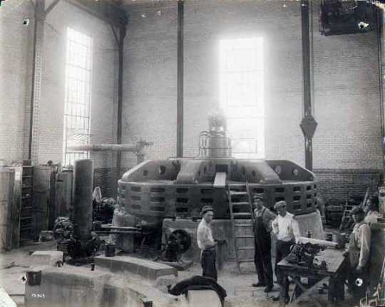 Interior view showing machine number one ready for operation at the Coon Rapids Dam power plant.