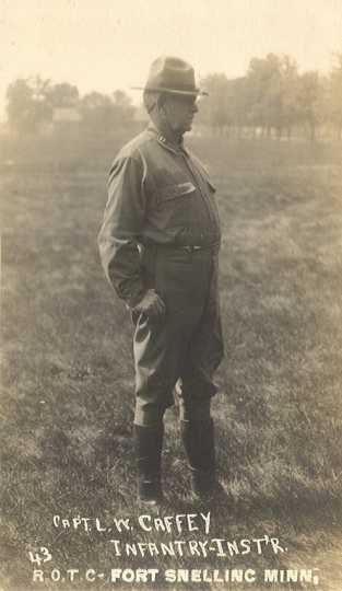 Black and white photograph of Captain L. W. Caffey, infantry instructor, at Fort Snelling, ca. 1917.