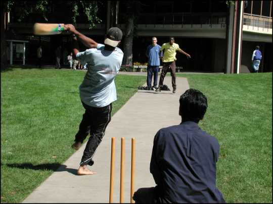 Photograph of cricket game at MAcalester College, 2000