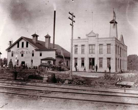 Black and white photograph of the original buildings of the Crookston Brewing Company, ca. 1890s.