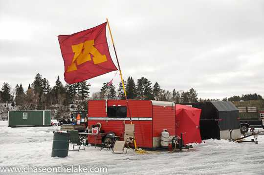 Ice fishing shack on Leech Lake for the International Eelpout Festival, 2016. Photo by Josh Stokes.