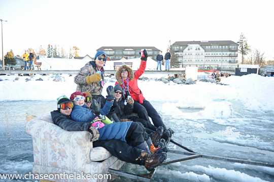 International Eelpout Festival-goers riding in style, ca. 2010s. Photo by Josh Stokes.
