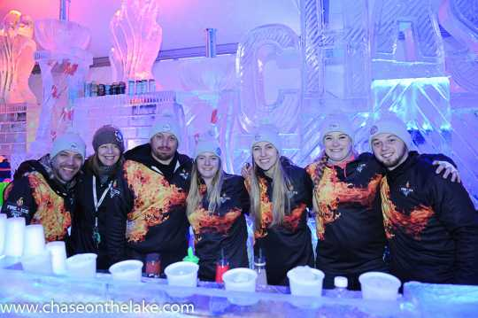 Bartenders at the Chase on the Lake Ice Bar at the International Eelpout Festival, 2017. Photo by Josh Stokes