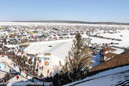 Thousands of visitors gather on Leech Lake in Walker, Minnesota for the International Eelpout Festival, ca. 2010s. Photo by Josh Stokes. © Chase on the Lake Resort, used with permission.