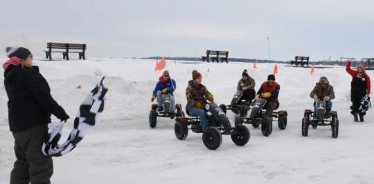 Go-cart racers compete for prizes at the International Eelpout Festival, ca. 2010s. Photo by Josh Stokes.