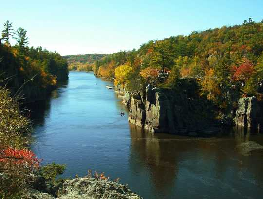 Color image of the Dalles of the St. Croix River seen from the Wisconsin bank, July 2, 2009.