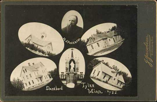 Photograph collage of early pictures of Danebod. Includes church, folk school, stone hall, gym and first pastor H.J. Pedersen.