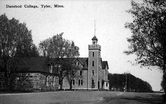 Postcard photo of Danebod Folk School and stone hall
