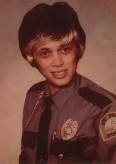 St. Paul police officer Debbie Montgomery in uniform, 1975. Used with the permission of Debbie Montgomery.