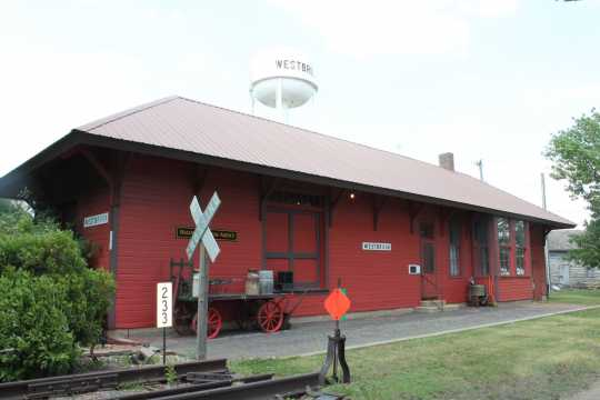 Color image of the Westbrook Depot, home of the Westbrook Heritage House Museum, 2017. Photograph by Dave Van Loh.