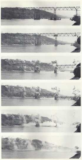 Black and white photograph of the demolition of the St. Paul High Bridge February 24, 1985.