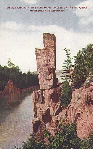 Colorized post card view of Devil's Chair, Dalles of the St. Croix, 1910.