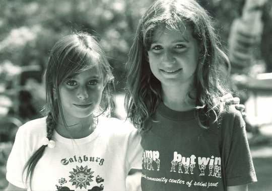 Black and white photograph of two campers at Dick Butwin Day Camp, 1986.