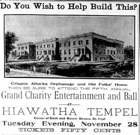 Charity-ball announcement featuring the proposed new facility for the Crispus Attucks home. The Appeal, November 11, 1911.