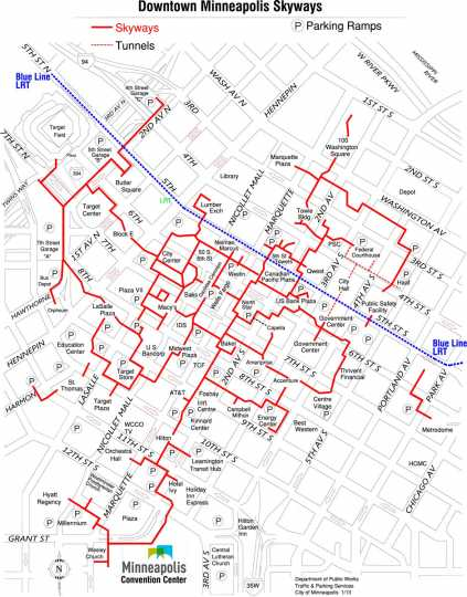 Downtown skyway map