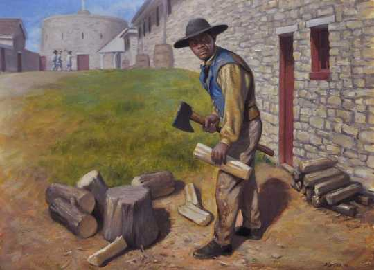 Oil on canvas painting depicting Dred Scott at Fort Snelling by David Geister, 2013.