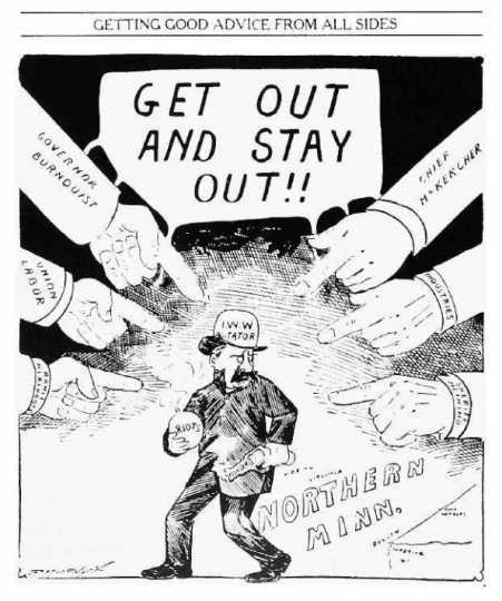 Black and white anti-I.W.W. cartoon printed in the Duluth News Tribune on July 5, 1916.