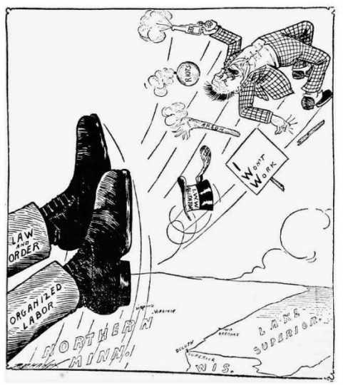 Black and white anti-I.W.W. cartoon printed in the Duluth News Tribune on July 1, 1916.