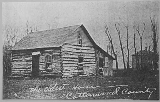 Black and white photograph of the Zierke family cabin, ca. 1900.