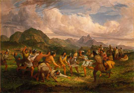 Painting of a lacrosse game by Seth Eastman