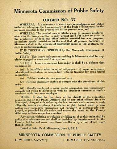 Color image of Commission of Public Safety Order No. 37, June 4, 1918.