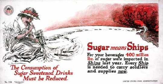 Color image of World War I-era poster encouraging the conservation of sugar, c.1917.