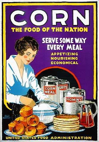 Color image of a poster encouraging women to replace wheat products with corn, c.1917.