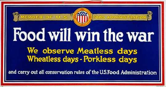 Color poster promoting food conservation printed by Forbes Lithographers in Boston, Massachusetts,c .1918.