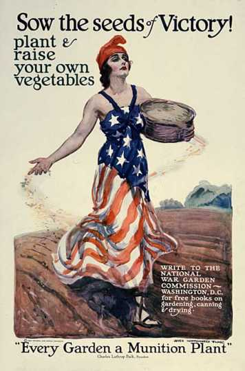 Color poster produced for the National War Garden Commission. Designed by illustrator James Montgomery Flagg, c.1918.