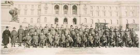 Black and white photograph of Company A of the Third Battalion, Minnesota Home Guard, from Duluth, 1917.