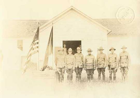 Black and white photograph of members of the Minnesota Home Guard at Camp Pershing, c.1918.